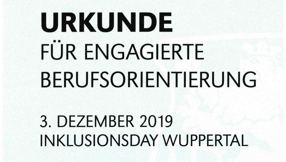 Urkunde - Inklusionsday - Ausschnitt